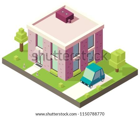 Stylish Minimalist House 3 D Isometric Twostory Stock Vector