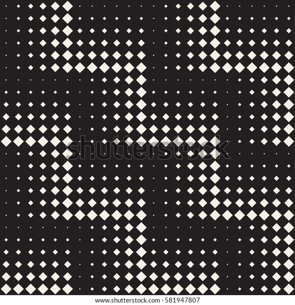 Stylish Minimalistic Halftone Grid. Vector Seamless Black and White Pattern