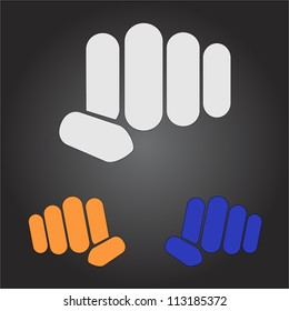 Stylish minimalistic vector simple logo fist in different colors on a dark black background