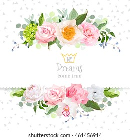 Stylish mix of flowers horizontal vector design frame. Green hydrangea, wild rose, camellia, orchid, peony, carnation, eucalyptus leaf, wildflowers. All elements are isolated and editable.