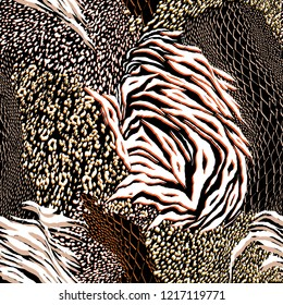 Stylish Mixed animal skin,tiger,zebra,leopard,snake, background. Seamless pattern vector design for fashion fabric ,wallpaper and all prints