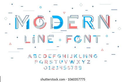 Stylish modern abstract alphabet with numbers, colorful font from pieces of shapes and strips, game style.
