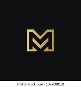 Stylish modern attractive elegant MV VM M V business brands black and golden color initial based letter icon logo.