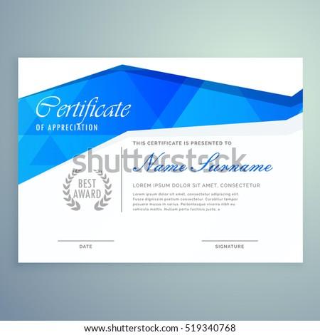 Stylish Modern Certificate Template Design Blue Stock Vector