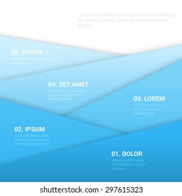 Stylish modern enumeration corporate blue multicolor background numbering report template mockup. Sky concept 1 to 5 list. Place your text and logo. Templates collection.