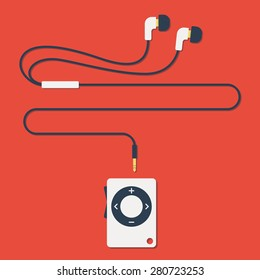 stylish modern MP3 player with earphones in flat style. Vector