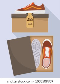 Stylish modern sneakers in box, side and top view. The price tag with a discount of 50 percent. Sports or casual shoes. Illustration for a shoe store. Vector flat illustration