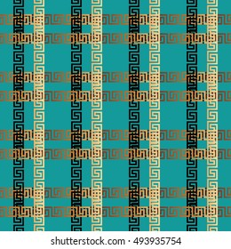 Stylish modern vector seamless pattern background wallpaper illustration with greek key and geometric decorative abstract ornaments with 3d striped squares and cages.. Endless luxury texture