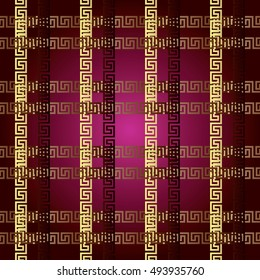 Stylish modern vector seamless pattern background wallpaper illustration with greek key and geometric decorative abstract ornaments with 3d striped squares and cages.  Endless luxury texture