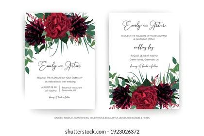 Stylish modern wedding invite cards template set. Burgundy dahlia flower, elegant red color garden Rose, greenery eucalyptus leaves, thistle wreath bouquet decoration. Editable vector art illustration