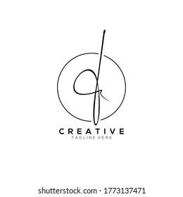 Stylish Monogram Signature Letter F Logo Design With Circleline Background