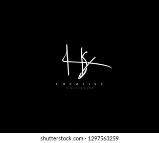 Stylish Monogram Signature Letter HS Logo Design