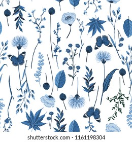 Stylish monotone blue botanical plants seamless pattern vector for fashion, web, wallpaper, fabric and all prints on white