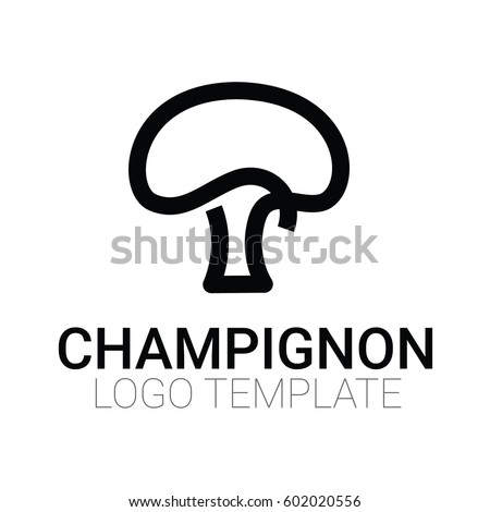 Stylish mushroom symbol or logo template - drawing one line vector Isolated