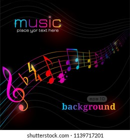 Stylish musical design. Vector illustration abstract music background. Music theme on dark background