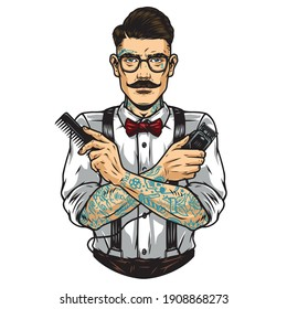 Stylish mustached barber in glasses with tattooed arms holding comb and hair clipper isolated vector illustration