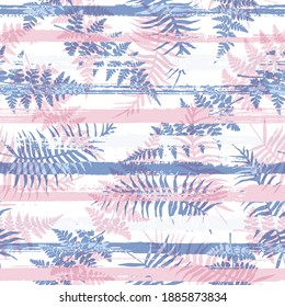 Stylish new zealand fern frond and bracken grass over painted stripes seamless pattern design. Polynesian jungle foliage summer fashion print. Floral tropical leaves seamless design.