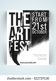 Stylish one page Flyer, Banner or Template in black and white colors for Art Fest celebration.
