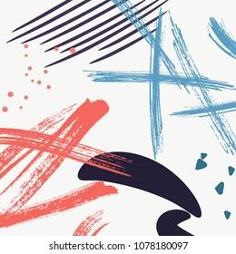 Stylish orange vector dynamic strokes fantasy print .Speed pattern with blue brush blobs. Modern style art, expressive minimalistic pattern