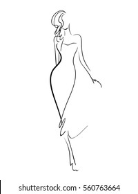Stylish original hand-drawn graphic with beautiful young girl model for design. Fashion, style, youth, beauty. Graphic, sketch, drawing, vector.