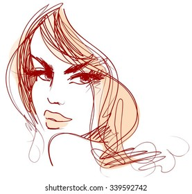 Stylish original hand-drawn graphics portrait  with beautiful young attractive girl model for design. Fashion, style, beauty. Graphic, sketch drawing. Sexy woman.