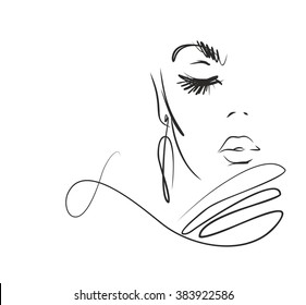 Stylish original hand-drawn graphics portrait  with beautiful young attractive girl model for design. Fashion, style, beauty. Graphic, sketch drawing. Sexy woman