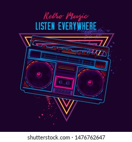 Stylish, original vector illustration in neon style. Old cassette player. Boombox