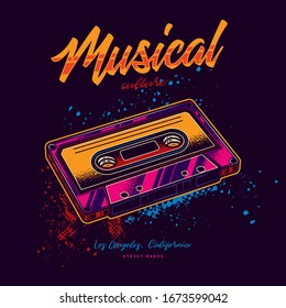 Stylish, original vector illustration in neon style. Vintage music cassette with magnetic tape.