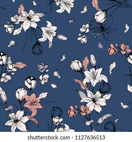 Stylish outline sketch and hand drawn lily flowers. Botanical Seamless pattern vector texture. For fashion prints. printing ,fabric,fashion wallpaper and all prints on dark blue