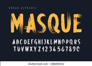 Stylish painted by a brush uppercase vector letters, alphabet, font, typeface.