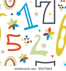 Stylish pattern with colored numbers. Beautiful vector seamless pattern for numbers fans. A striking result is guaranteed