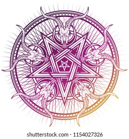 Stylish pentagram with goat skulls and star rays. Vector hand crafted illustration isolated on white. Good for posters, stickers, t-shirt prints, banners.