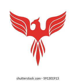 Stylish phoenix spreading its wings logo to convey renew and alive. Suitable for life coaching business or medical healing services.