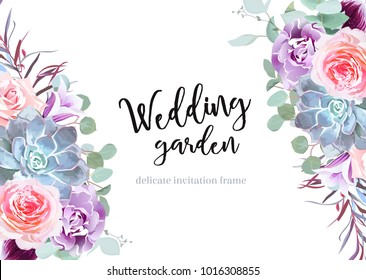 Stylish plum colored and pink flowers vector design banner card. Rose, purple carnation, bell flower, succulent, eucalyptus, agonis. Floral borders. Autumn mood composition. All elements are isolated
