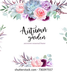 Stylish plum colored and pink flowers vector design card. Rose, purple carnation, bell flower, succulent, eucalyptus, agonis, brunia. Floral borders. Autumn mood composition. All elements are isolated