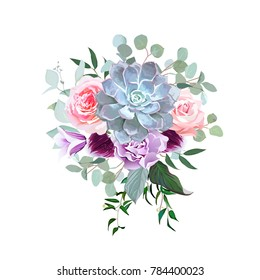 Stylish plum colored and pink flowers vector design bouquet. Rose, purple carnation, bell flower, succulent, eucalyptus, orchid. Floral bunch. Winter mood composition. All elements are isolated