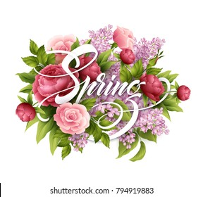 Stylish poster with beautiful flowers and Spring lettering. Lilac, rose, peony flower bouquet. Vector illustration EPS10