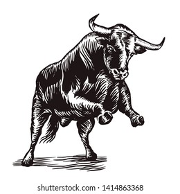 Stylish print engraving bull ready to jump vector.