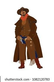 stylish real cowboy isolated on white background
