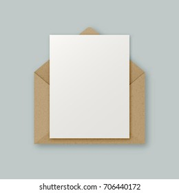 Stylish realistic brown kraft paper vector envelope with clean white letter paper sheet with copyspace for your design. Envelope email concept.