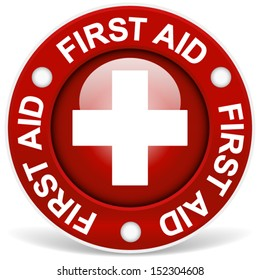 """Stylish red """"first aid"""" badge"""