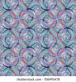 Stylish repeating seamless pattern with roses in purple, pink and peach shades. Floral fashion ornament for women's clothing design and accessories