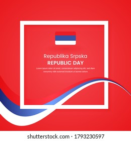 Stylish Republika Srpska country republic day concept illustration with tricolors wave on classic greeting background