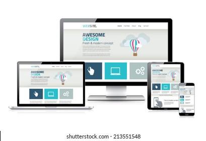 Stylish responsive web design development coding vector concept