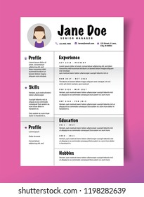resume design template minimalist cv business のベクター画像素材