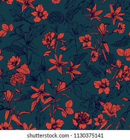 Stylish retro botanical flowers in the garden hand drawn by pencil seamless pattern vector for fashion, fabric,wallpaper and all prints on dark green background
