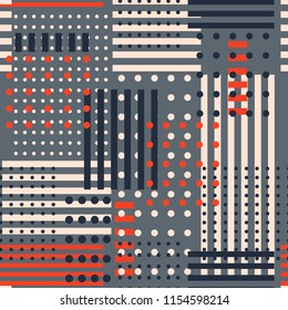 Stylish retro geometric seamless pattern in vector polka dots mix with stripe design for fashion,fabric, and all prints on grey background color.