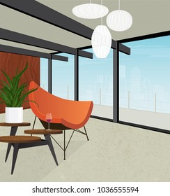 Stylish retro modern home overlooking the city skyline. Mid-century modern coconut chair, retro side table and modern pendant lights depicted in flat style with perspective, minimal detail and shadow.