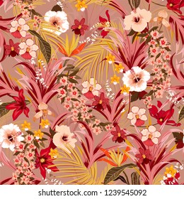 Stylish retro tropical background with deep jungle plants.Vector exotic pattern with palm leaves and flowers seamless vector design for fashion,fabric wallpaper and all prints on pink brush nude pink