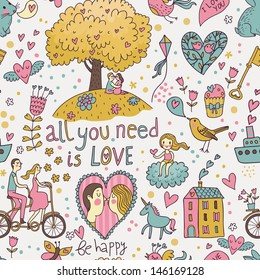 Stylish romantic seamless pattern with lovers, unicorn. cupcake, tree, tandem bicycle and other elements in vector. Can be used for wallpapers, pattern fills, web page backgrounds,surface textures.